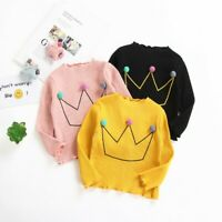 AU Baby Kids Boys Girls Long Sleeve Cotton T-Shirt Casual Crown Tops Blouse 2-7Y