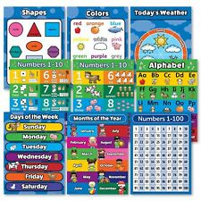 Toddler Learning Poster Kit - Set of 9 Educational Wall Posters for Preschool...