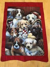 Large Decorative Garden Flag Puppies Dogs Red Border 28� X 42� garden flag