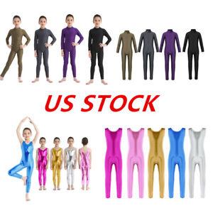 US Girls Long Sleeve Ballet Dance Gymnastics Leotard Zippered Jumpsuit Costume