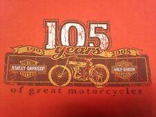 Harley Davidson Large Orange Tank Top 105 Years Motorcycle Biker Bar Hog Bike