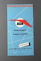 AUSTRIAN AIRLINES TIMETABLE SUMMER 1958 AUA