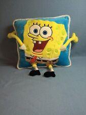 "Spongebob Pillow 14x14"" Plush Lovey EUC Blue Yellow"