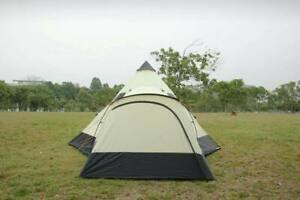 Beige Outdoor 12  Person Teepee Tent Outdoor Garden Camping Zipped Ground Sheet