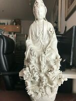 "29"" Vintage Chinese Dehua White Porcelain Kwan-yin Guan Yin Goddess Statue"