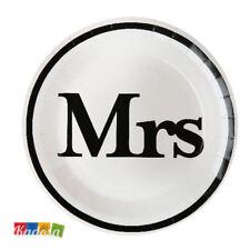 Set 10 Piatti di Carta MRS - Party Festa Mr & Mrs Matrimonio Donna Wife Sposa