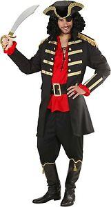 Black Captain Hook Pirate Coat & Hat Men's Fancy Dress Costume S-XL