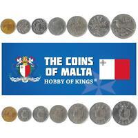 SET OF 7 COINS FROM MALTA. 1 CENT - 1 LIRA 1991-2007. MEDITERRANEAN ISLAND MONEY
