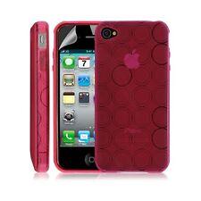 Housse coque etui gel rond transparent pour Apple Iphone 4/4S couleur rose + Fil