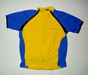 CANARI Bright Yellow/Blue 3/4 ZIP CYCLING JERSEY Bike Riding Gym Shirt Sz Men XL