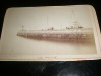 Cdv old photograph Harbour wall lighthouse Le havre France by Letellier 1870s