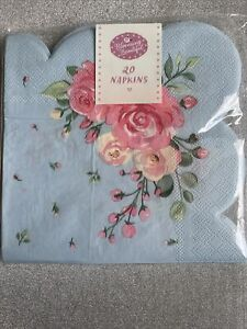 Pack Of 20 Vintage Style Scalloped Pale Blue And Roses Afternoon Tea Napkins