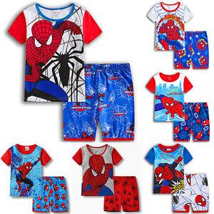 Spiderman Jungen Kinder Pyjama Sommer Nachtwäsche Schlafanzug 2tlg Kleidung Sets
