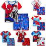 Jungen Kinder Spiderman Nachtwäsche Set Kurzarm T-Shirts Shorts Pyjama Outfits