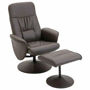 Modern Lounger Chair Set Reclining Reading Napping Padded Seat Footstool Brown
