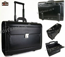 New Wheeled Black Business Aeroplane Pilot Executive Briefcase Carry Case Bag
