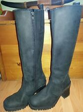 """Euro club tall leather high black riding boots heel 3,5""""sz 7 1/2 M great pair"""
