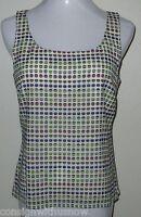 St John Multicolored Polka Dot Design Silk Stretch Slvless Shell Tank Top Petite