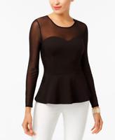 NWOT Thalia Sodi Mesh-Yoke Peplum Top, Black Lace Bustier XS Extra Small
