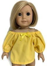 "Yellow Peasant Top Shirt made for 18"" American Girl Doll Clothes"