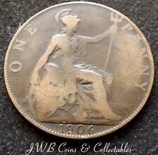 1906 Edward VII One Penny 1d Coin - Great Britain