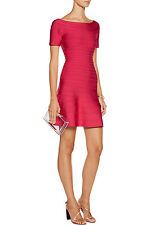 """NWT Authentic Herve Leger """"Liza"""" S Rose Red Flared Bandage Dress - $1,290"""