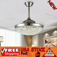 "42"" Chrome Silver Remote Invisible Ceiling Fan Lamp Crystal LED Chandelier Light"