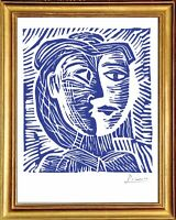 """Pablo Picasso Hand Signed Ltd Edition Print """"Woman in Hat"""" w/COA (unframed)"""
