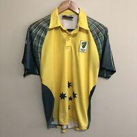 Cricket Australia FILA 2003 Polo Shirt Uniform Yellow Green Kids Boys Youth 14
