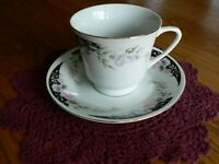 LINGNAN PORCELAIN CHINA TEACUP AND SAUCER