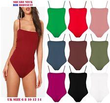 a26c1aba7cdcfd New Womens Stretch Ribbed Square Neck Bodysuit Leotard Rib Cami Strappy  Body Top