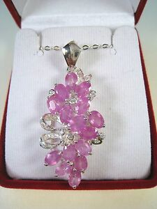 10.98 CTW PINK & WHITE SAPPHIRE NECKLACE - WHITE GOLD over 925 STERLING SILVER
