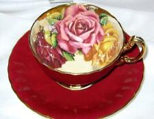AYNSLEY HUGE CABBAGE ROSES MAROON/RED GOLD TEA CUP and SAUCER 1930's