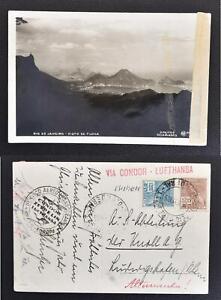 BRAZIL to GERMANY 1935 CONDOR Lufthansa Flight Airmail Photo Pic PPC Card RIO to