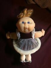 VINTAGE CABBAGE PATCH KIDS brunette girl purple dress DOLL cpk 1991 cool