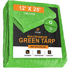 Green Poly Tarp Cover 12' x 25' Multi-Purpose 5 Mil, Tent Shelter RV Camping