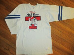 vtg TOLEDO MUD HENS JERSEY T SHIRT Minor League Baseball Muddy Mascot Adult L/M