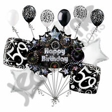 11 pc 50th Happy Birthday Balloon Decoration Party Elegant Adult Black White