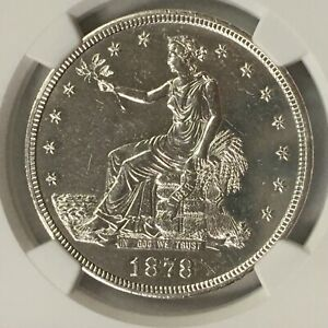 1878-S Trade Silver Dollar Unc Details NGC BU-T-Ful!  NR + Free Shipping