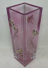 Moser Clear Crystal Glass Pink Vase With Dragonfly Figurines