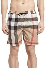 New Burberry Brit Authentic Gowers Check Swim Trunks Parade Camel Nwt