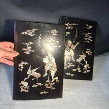 🔅 CHINE XIXème paire de panneaux en bois incrustation de nacre. chine, japon ?