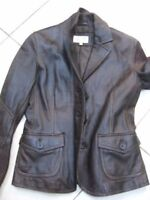 Ladies NEXT brown real leather JACKET size UK 8 hip length blazer distressed