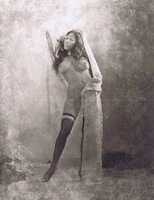 "Hendrickson Orig Photo B&W BIG BREASTED NUDE GYSPY w/SCARF & STOCKINGS 10x13"""