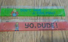 "Pair of Bart Simpson's 6"" Rulers 1990 NICE"