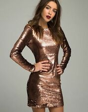 Motel Gabby Plunge Back Dress in Metallic Sequin  xsmall copper nasty gal