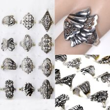 30X Wholesale Lots Mixed Style Jewelry Tibet Silver Vintage Rings Free Shipping