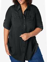 Woman Within shirt blouse top plus size 20/22 24/26 28/30 36/38 black utility