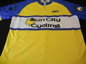 Men's Size XL LOUIS GARNEAU Bicycling Jersey, YELLOW BLUE ROSEVILLE CA *NICE*
