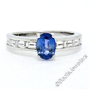 FINE 18K White Gold 1.90ctw Royal Blue Sapphire & Channel Baguette Diamond Ring
